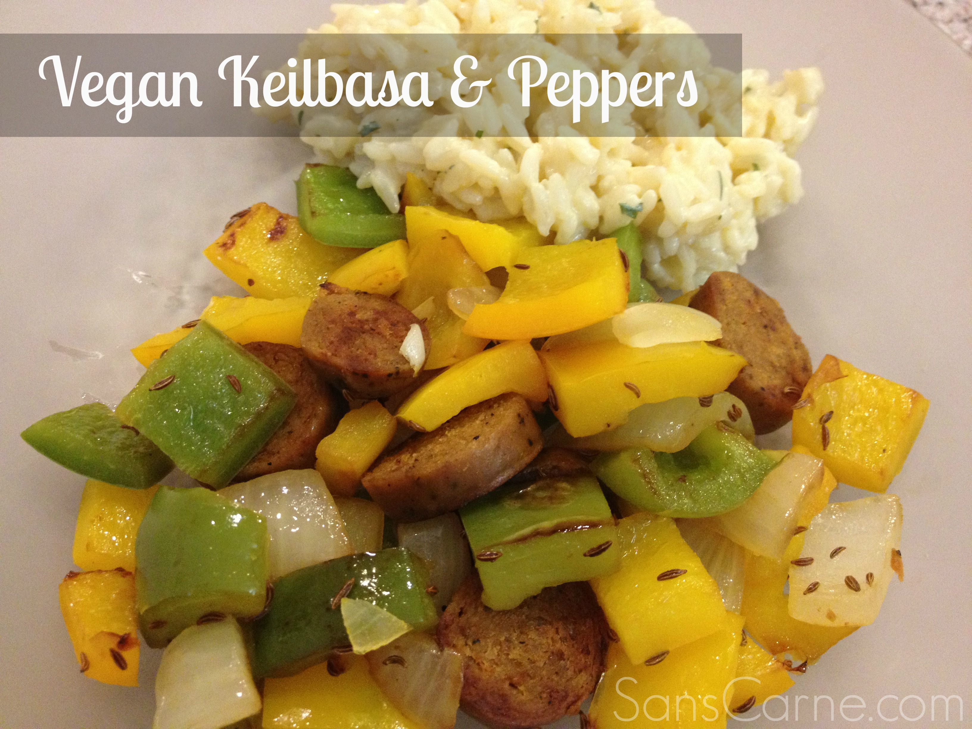 Vegan Kielbasa and Peppers