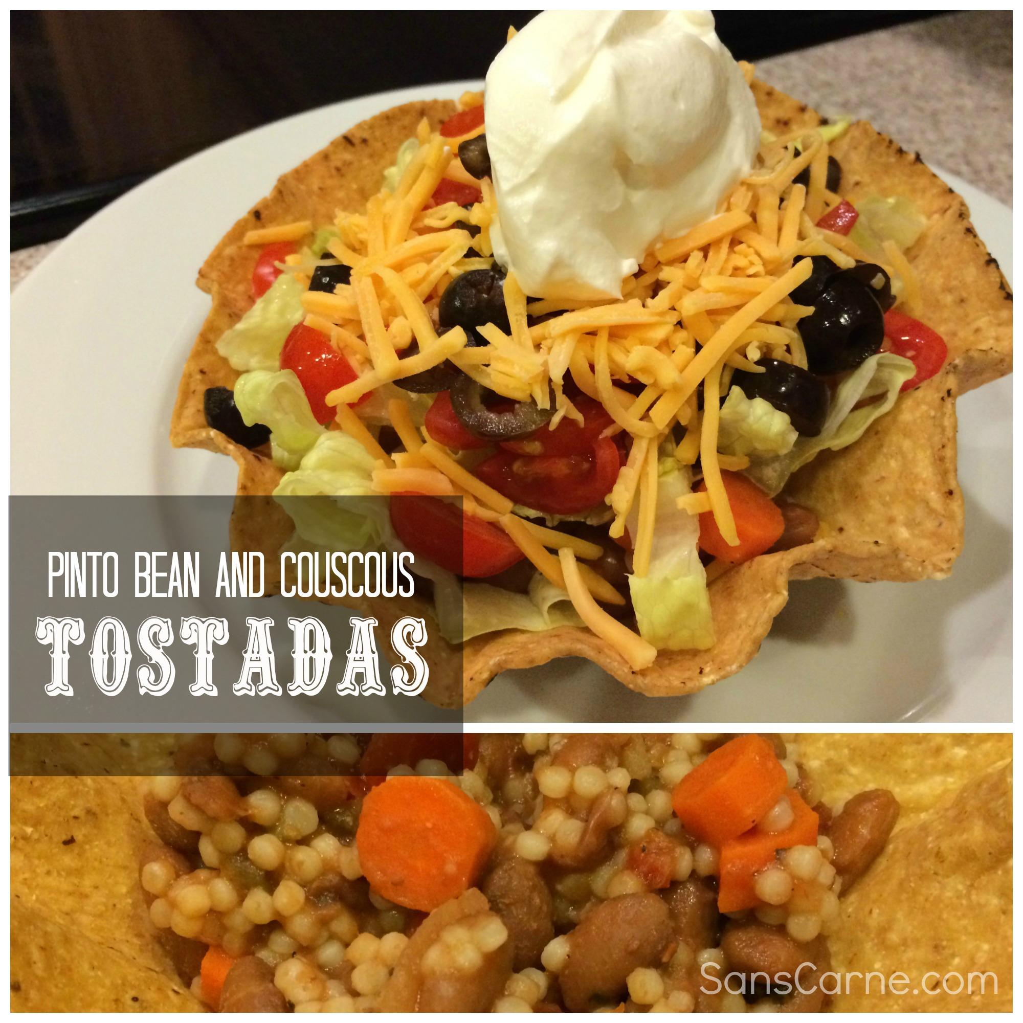 pinto bean and couscous tostadas